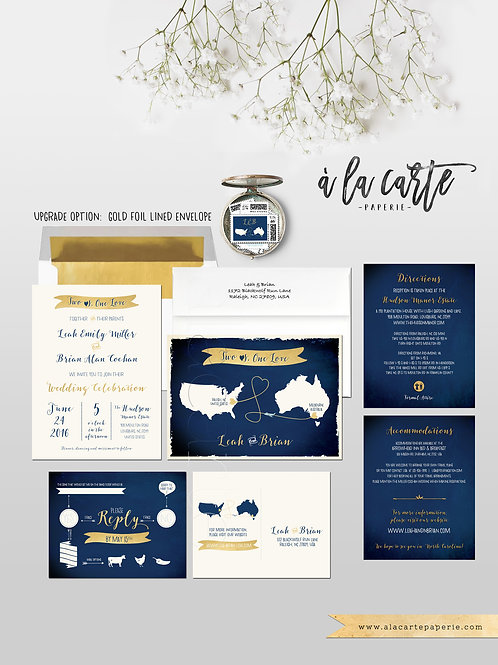 Navy and Gold Two Countries, One Love Destination Wedding Invitation  Internatio