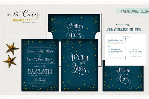 Written in the Stars Chalkboard Inspired Navy Blue Night Sky Wedding Invitation