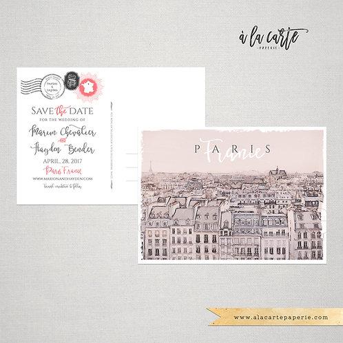 Paris France Parisian Illustrated Save the Date Postcard