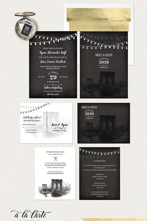 Brooklyn Bridge Chalkboard Inspired Wedding Invitation with String Lights