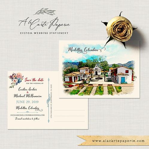 South America Medellin Colombia Bilingual Destination wedding invitation customi