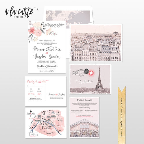 Paris France Parisian Illustrated Destination Wedding Invitation pink floral