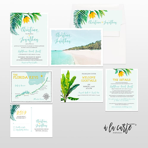 Florida Keys, Key Largo Destination Wedding Invitation watercolour illustrations