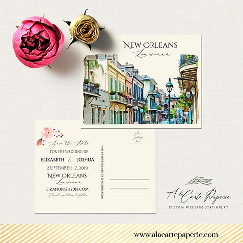 Destination wedding New Orleans Louisiana LA USA French Quarter Jazz illustrated