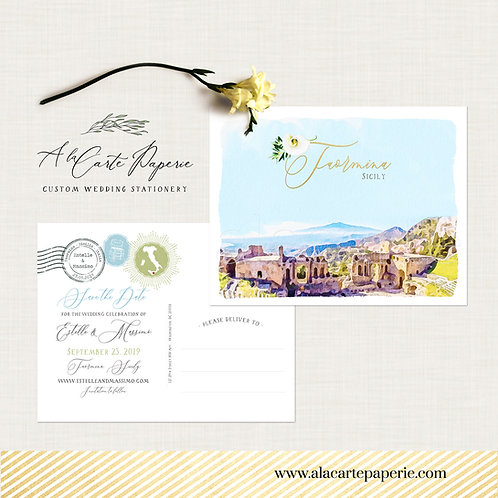 Taormina Sicily Italy Europe Destination wedding Save the date Postcard
