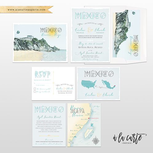 Mexico Tulum Riviera Maya Illustrated Beach Destination wedding invitation