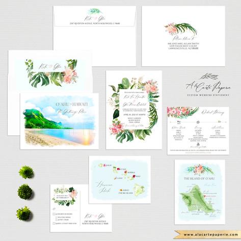Oahu Hawaii Weddig gInvitation Set with watercolor illustrations