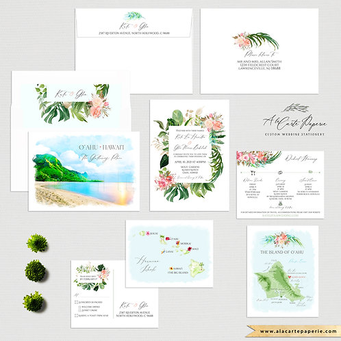 Oahu Hawaii Watercolor Illustrated Destination wedding invitation set