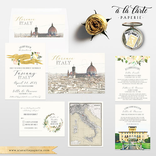 Tuscany Florence Italy illustrated watercolor destination wedding invitation set
