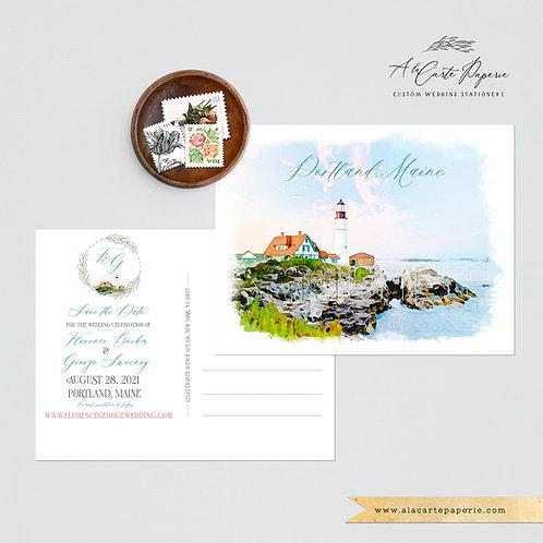 Portland Maine Destination Wedding Invitation Save the Date coastal weddin
