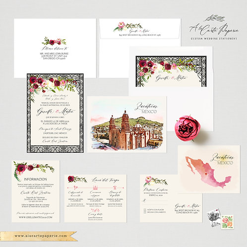 Zacatecas Mexico Watercolor Illustrated Destination Wedding Invitation Set