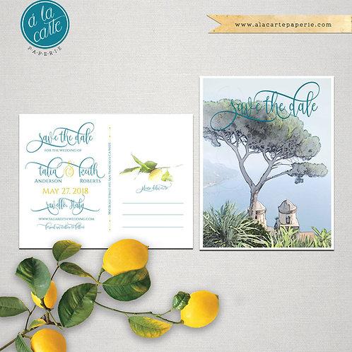 Ravello Amalfi Coast Italy illustrated Save the Date postcard