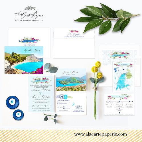 Greece Lefkada Greek Island Watercolor Destination wedding invitation