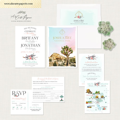 Joshua Tree Bohemian Desert Destination wedding invitation Modern Retro cacti