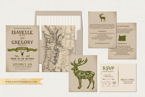 The Hunt is Over Rustic mountain illustrated destination wedding invitation