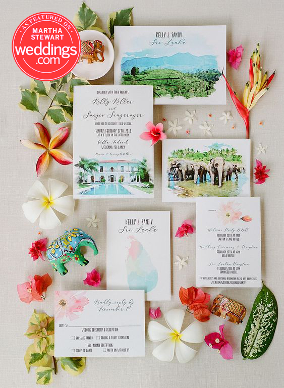 Sri Lanka Custom Wedding Invitation Suite