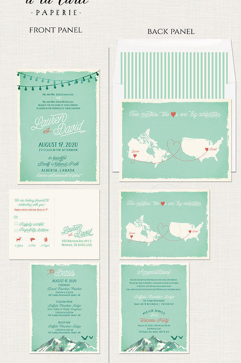 Two Countries, Two Hearts, One Big Celebration Wedding Invitation Map