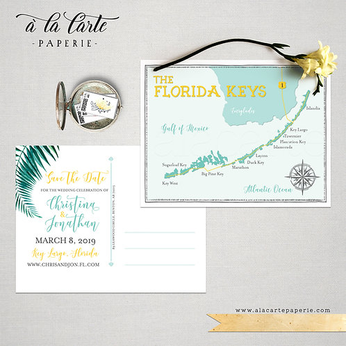 Florida Keys, Key Largo Destination Wedding Invitation watercolour Save the Date