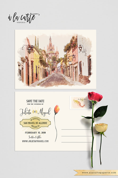Mexico San Miguel de Allende save the date postcards with illustration of church