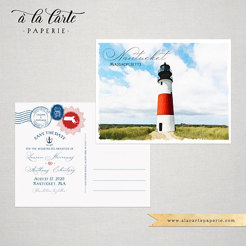 Nantucket Massachusetts Illustrated Watercolor US Coastal Save the Date postcard