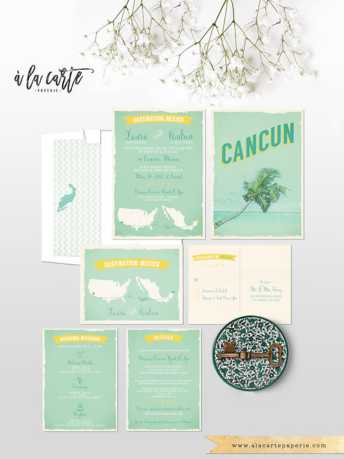 Cancun Mexico Beach Destination wedding invitation palm tree map airplane lines