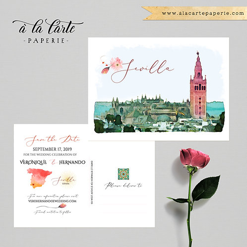 Sevilla Spain Spanish Wedding Watercolor Illustrated Save the Date Postcard