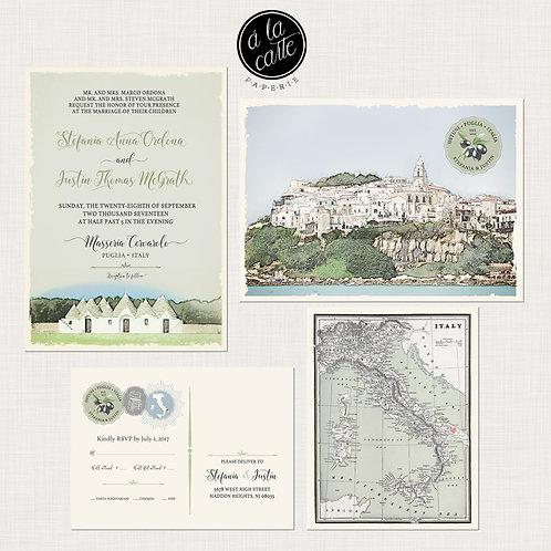 Puglia Apulia South Italy Illustrated destination Wedding Invitation sage green