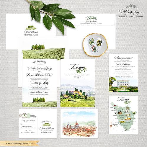 Tuscany Watercolor Illustrated Destination wedding invitation Toscana Florence I