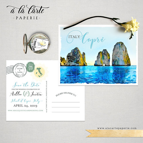 Capri Island Italy Amalfi Campania illustrated wedding Save the Date postcard
