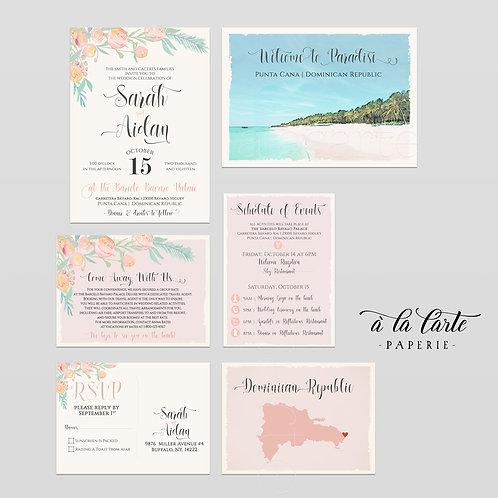 Destination wedding invitation Punta Cana Dominican Republic Caribbean beach