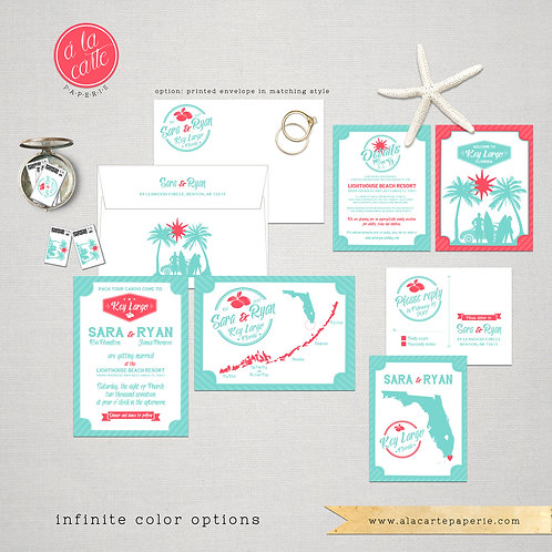 Florida Keys Key Largo illustrated wedding invitation Destination wedding Florid