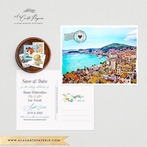 Croatia Split European Save the Date Watercolor Illustrated wedding invitation