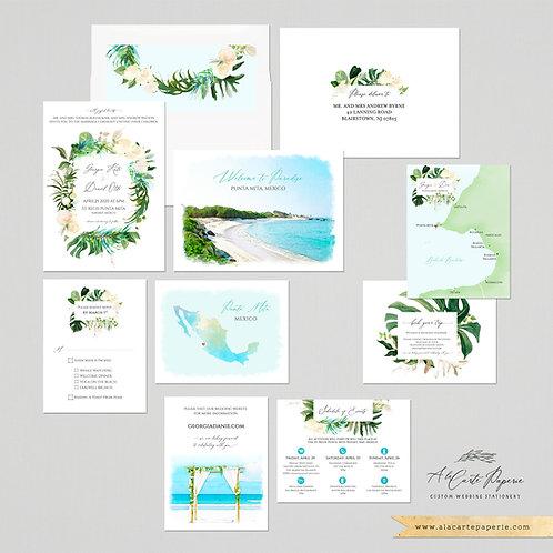 Punta Mita Mexico watercolor illustrated destination wedding invitation set