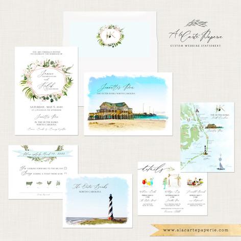Outer-Banks North Carolina Coastal Wedding Invitation Set with watercolor illustrations