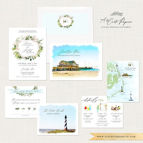 Outer Banks North Carolina OBX Destination Wedding Invitation with watercolors