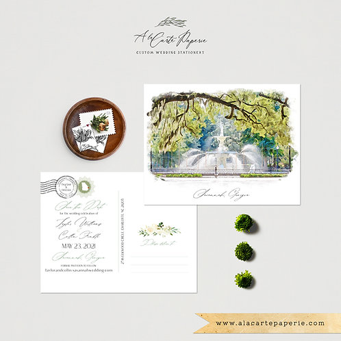 Savannah Georgia Watercolor Illustrated Destination Wedding Save the date card