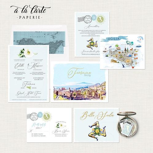 Sicily Taormina Italy Italian Sicilian Destination wedding invitation set