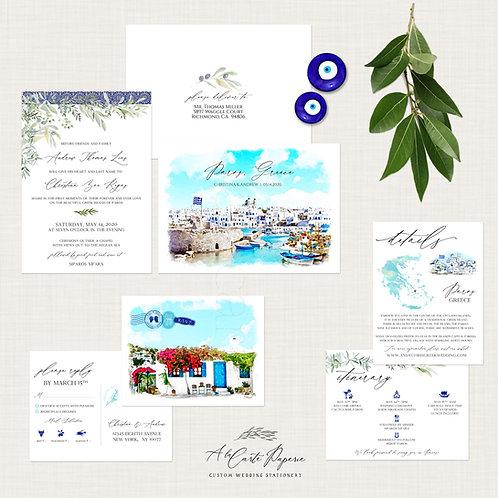 Paros Greece Destination Wedding Invitation Greek Island Invitation Suite Europe