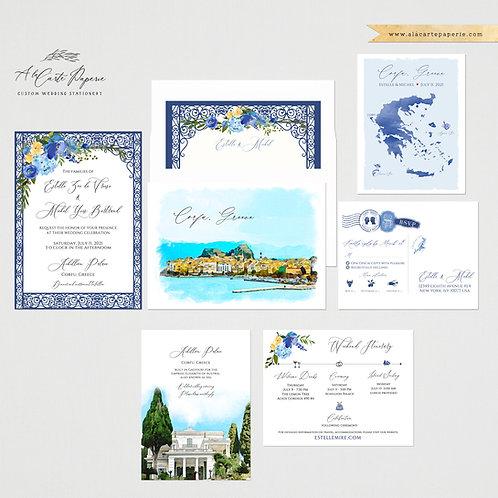 Corfu Greece Greek Island Watercolor Illustrated Destination Wedding Invitation