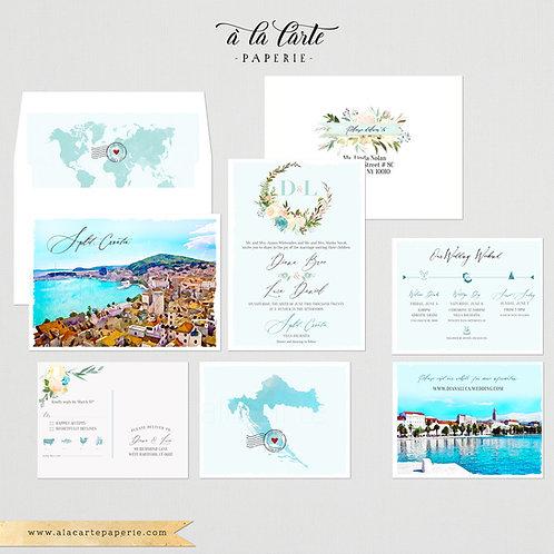 Croatia Split European Watercolor IllustratedDestination Wedding Invitation Set