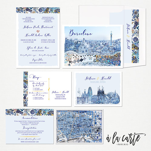 Barcelona Spain Destination Bilingual Illustrated Destination Wedding Invitation