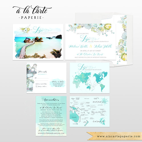 Fiji Pacific Islands Destination Wedding Invitation Set Tropical Paradise