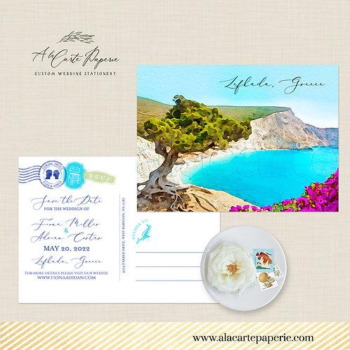 Lefkada Greece Destination wedding invitation Greek Island Europe Save the Date