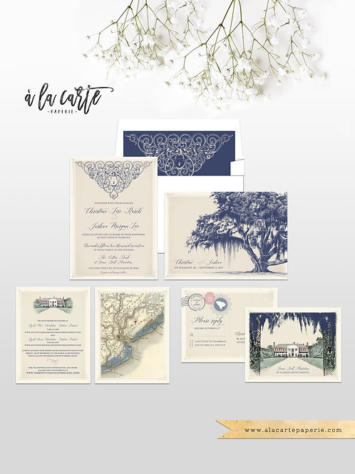 South Carolina Georgia Vintage Oak Plantation Destination Wedding Invitation