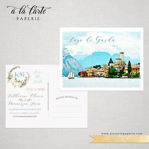 Lake Garda Italy illustrated wedding Save the Date postcard with watercolors