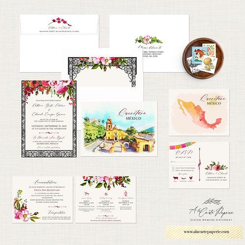 Querétaro Mexico Destination Wedding Invitation Traditional Spanish Mexican wate