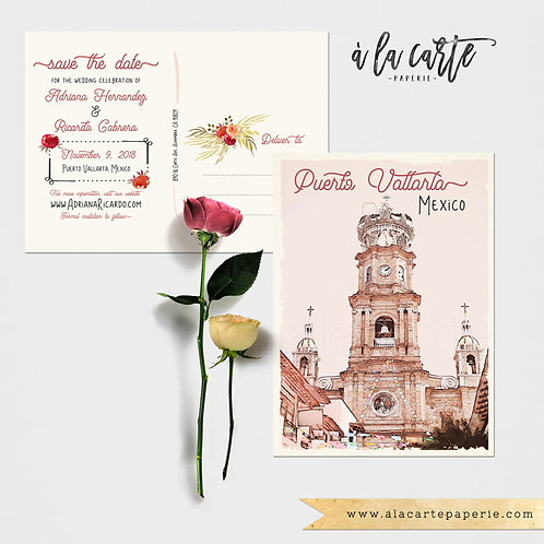 Mexico Puerto Vallarta Illustrated Destination Wedding Save the date postcards