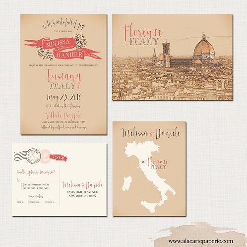 Florence Tuscany Italy Destination Wedding Invitation Italian European wedding