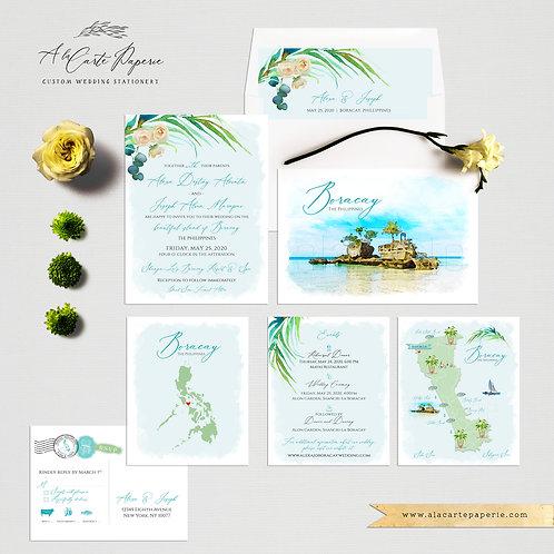 Boracay Island Philippines Illustrated Destination Wedding Invitation set bleu