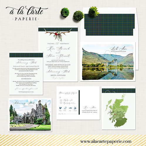 Scotland Scottish UK Destination wedding Antlers Tartan Wedding Invitation Suite